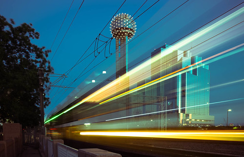 longexposure motion dallas texas unitedstates dusk teal tx trains lightrail dart hyattregencyhotel