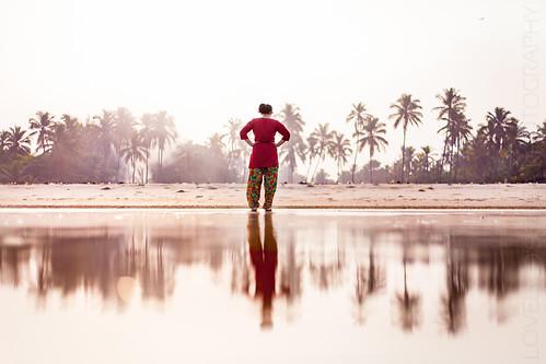 morning trees india reflection beach girl sunrise dawn wife karnataka priya coconuttrees udupi kadikebeach