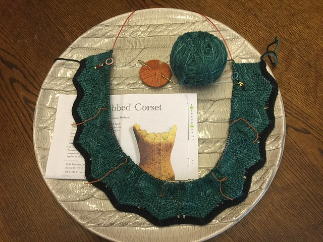Kicking off the ModeKnit Yarns Corset KAL: Stopping after 2 rows of Chart B