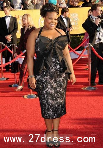 eb86ea02fe9 Amber Riley Halter Neckline Tea-Length Embroidery Evening Drsses at Screen  Actors Guild Awards at