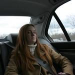 Sarah in the car
