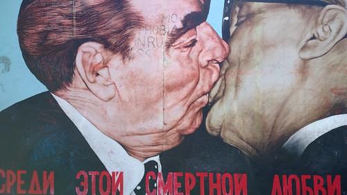 Restoration of the kiss - between East German leader Erich Honecker and Soviet leader Leonid Brezhnev, Berlin Wall