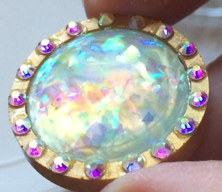 Ice Resin Faux Opal and Gold Liquid Sculpey Polymer Clay Bezel, by Karen A. Scofield. 2016.
