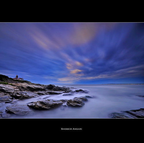 ocean longexposure ri blue cliff cloud lighthouse seascape rock sunrise landscape dusk newengland rhodeisland daytime beavertail atlanticocean jamestown beavertailstatepark cloudmovement shobeiransari