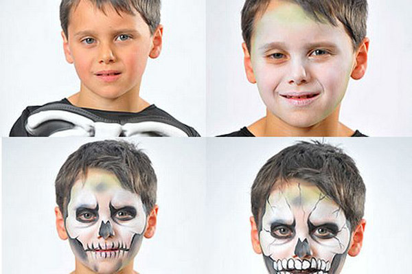 Halloween Makeup Ideas For Kids.Halloween Makeup Ideas Kids Boy Skull Black White Steps Flickr