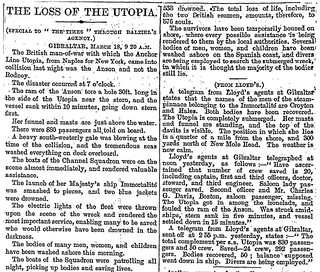 17th March 1891 - S.S. Utopia sank after a collision | by Bradford Timeline