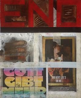 Zavier Ellis 'The End', 2013 Oil & collage on canvas 30.5x25.5cm