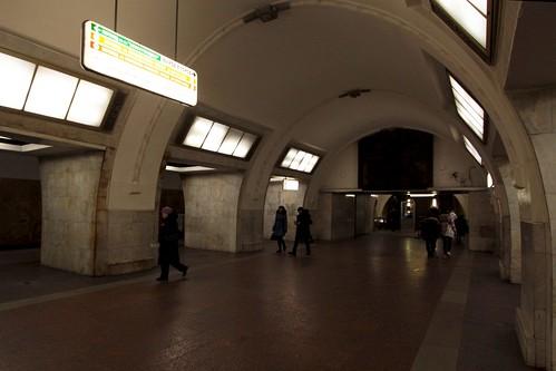 Island platform at Третьяковская (Tretyakovskaya) station
