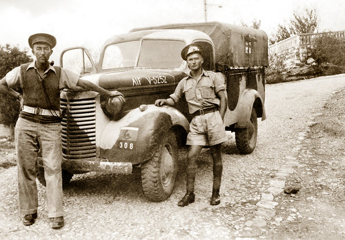 Early July 1942 - Australian Army 2/4 Anti Malaria Control Unit mates Norm Grainger & Sid Peters with Driver Tom Beazley's Chevrolet 1-Ton GS (General Service) light truck, on the road to Syr, Syria (now North Lebanon)