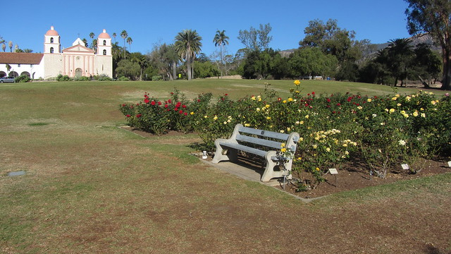 IMG_8635 Santa Barbara Mission Postel Rose Garden Henry Fonda bench
