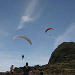Paragliders over the cliff, Oahu