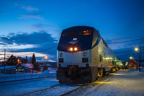 blue sky beautiful station night evening twilight colorado colorful dusk amtrak winterpark rockymountains fraser californiazephyr amtrakstation gep42dc canon7d