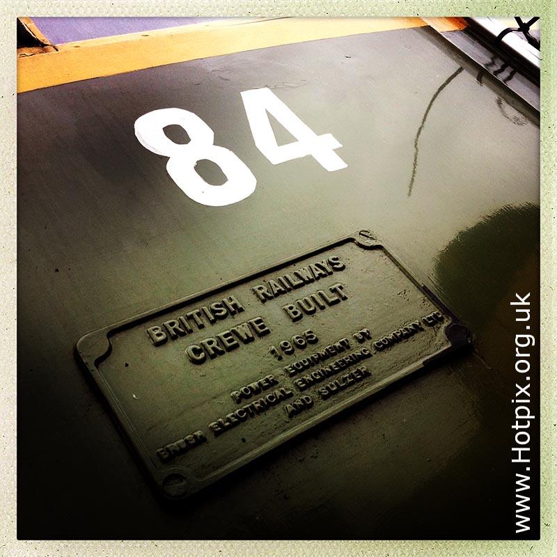 integer,number,numbers,square,84,eighty four,hipstamatic,engine,train,diesel,crewe,crewe built,1965,built