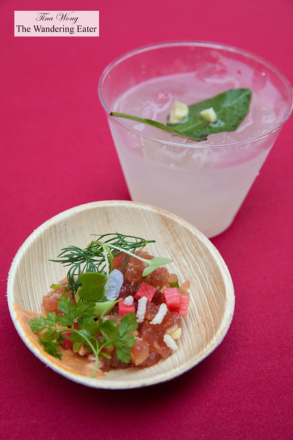 Tuna tartar, chipotle emulsion pickled daikon by Perry Street