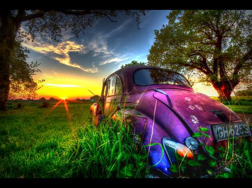 old sunset abandoned broken overgrown field grass car norfolk rusting morrisminor hdr scrapped banham sigma1020 sonya77