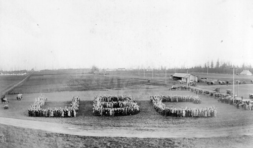 """Great Trek on campus - Formation of """"UBC"""" October 28, 1922 