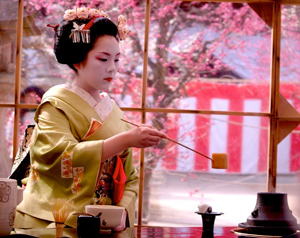 Geisha making tea at a Plum Blossom Festival in Kyoto