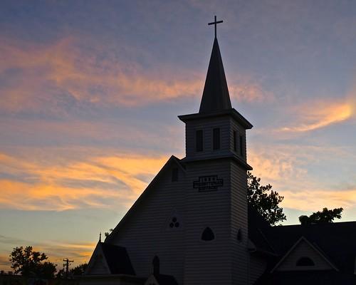 pink blue sunset sky orange church colors silhouette clouds evening twilight sundown steeple