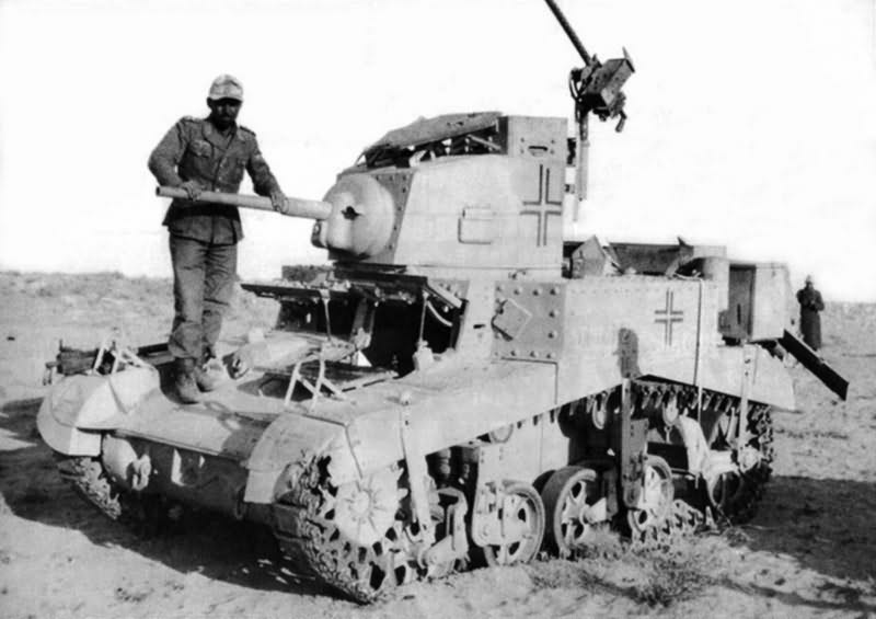 M3 Stuart captured by the Afrika Korps