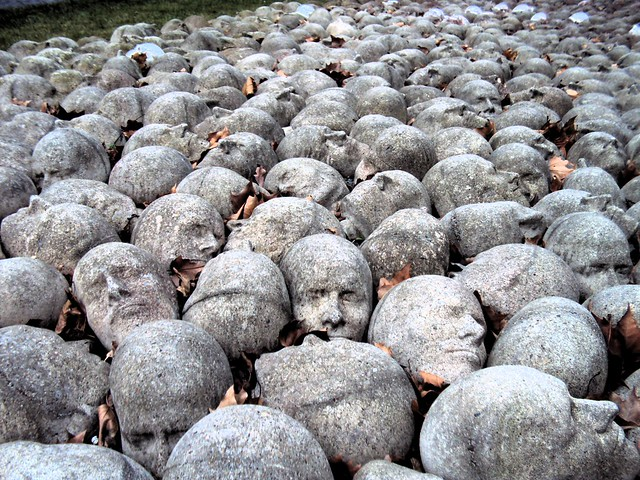 I have no idea what this was -- a bunch of rocks carved as skulls by bryandkeith on flickr