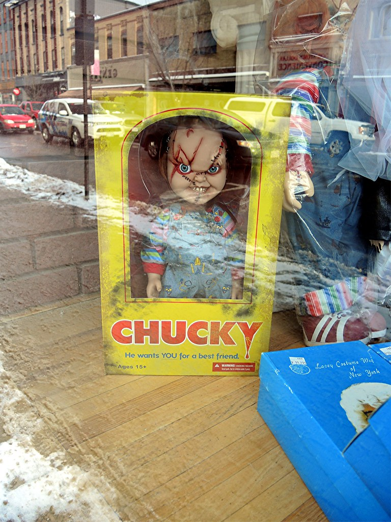 Chucky..storefront display Peterborough, Ontario