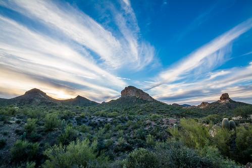 sunset arizona sky mountain mountains phoenix clouds nikon desert wideangle az cloudporn phx lostdutchmanstatepark d7100