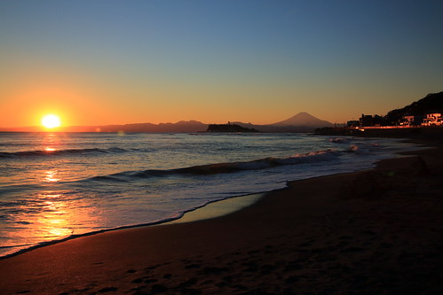 sunset seascape reflections view wave 富士山 mtfuji 神奈川県 日没 稲村ヶ崎