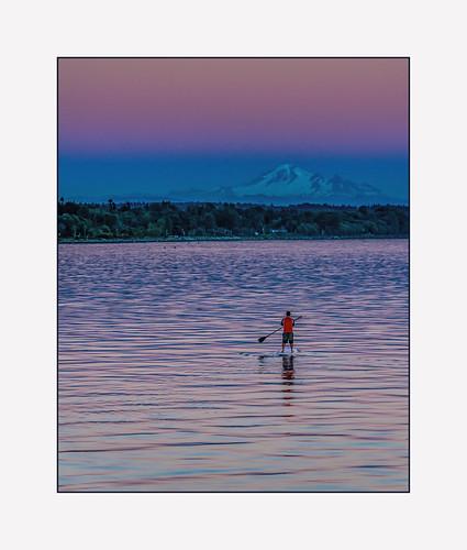 ocean sunset sea summer whiterock mtbaker whiterockpier paddler martinsmith paddleboard nikon18200mmvrii nikond7000 paddlingtomtbaker ©martinsmith whiterockmoonfestival