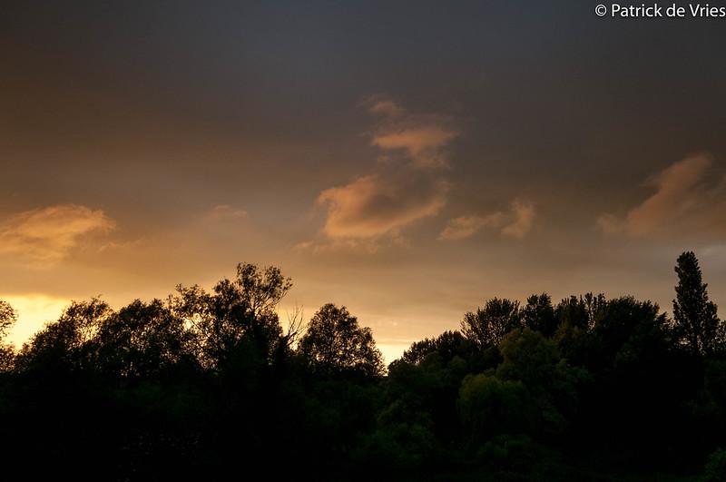 Sun setting over Canterbury