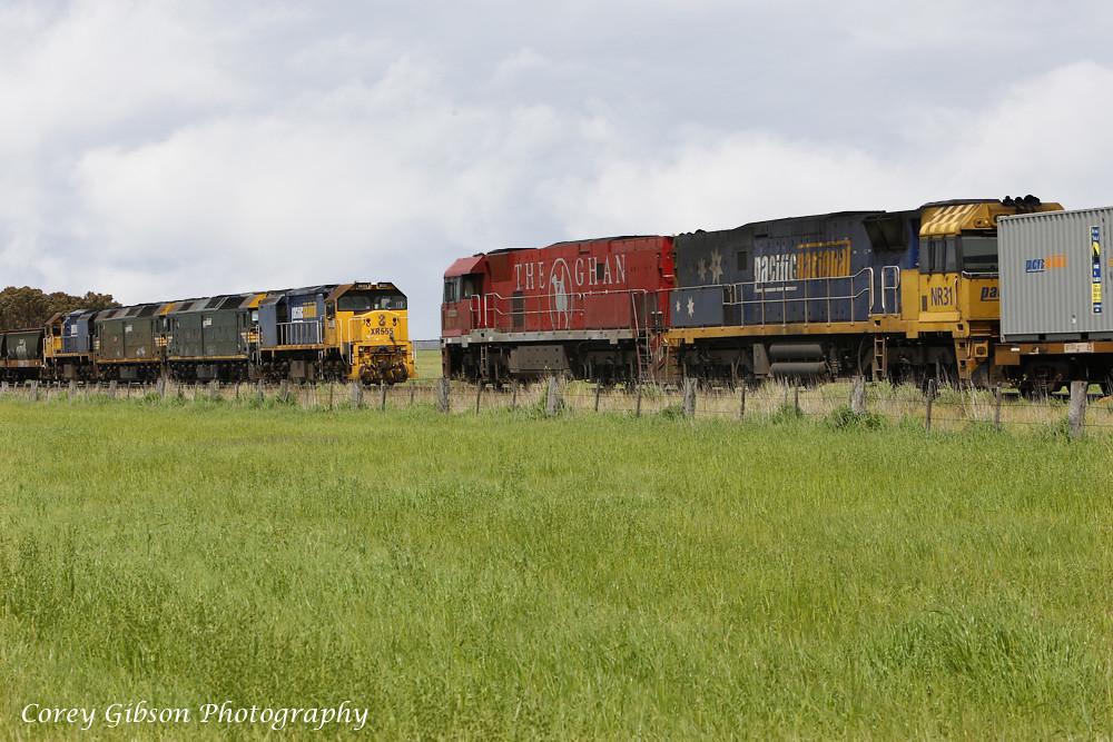 XR555, G526, G528 & XR558 wait to cross NR74 & NR31 at Vite Vite loop by Corey Gibson