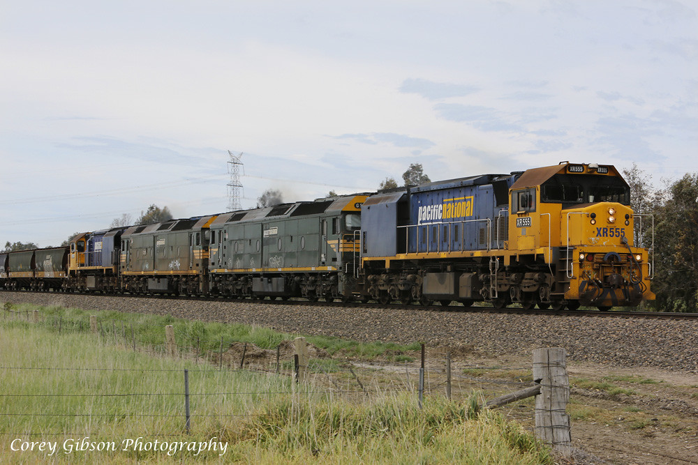 XR555, G526, G528 & XR558 heading west through Duverney. by Corey Gibson