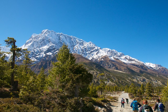 First sights of the Annapurnas on the road to Manang