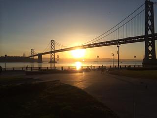 Bay Bridge during sunrise.   by jchessma