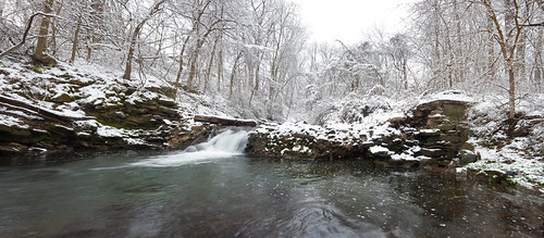 county panorama snow water creek waterfall woods stream pennsylvania lancaster