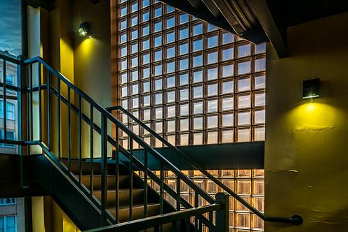 glass yellow stairs sunrise grid stairwell fantasy lattice floodlight glassbricks