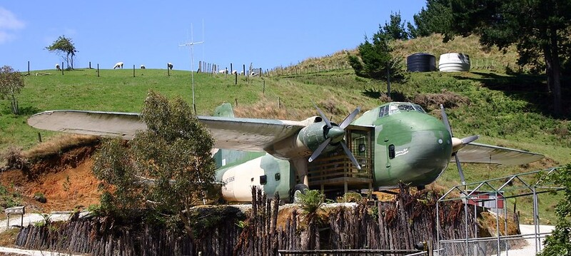 2010 RNZAF Bristol Freighter NZ5906 in use as a motel unit at Woodlyn Park, near Waitomo Caves.