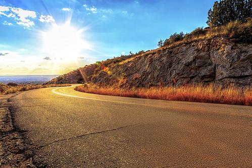 road sunset sun landscape albuquerque laluz