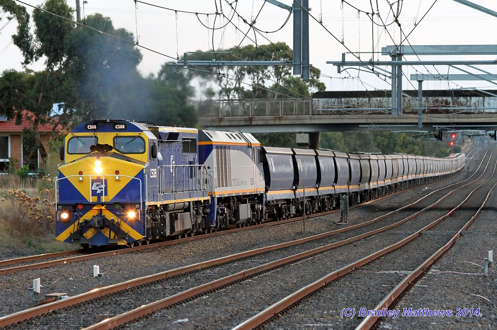 C508-EL55 with a loaded Qube SG grain from Murtoa to Somerton Loop at Coolaroo (1/3/2014) by Bradley Matthews