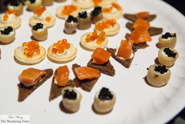 Assortment of caviars, salmon roe and smoked salmon by Paramount Caviar (at VIP Lounge)