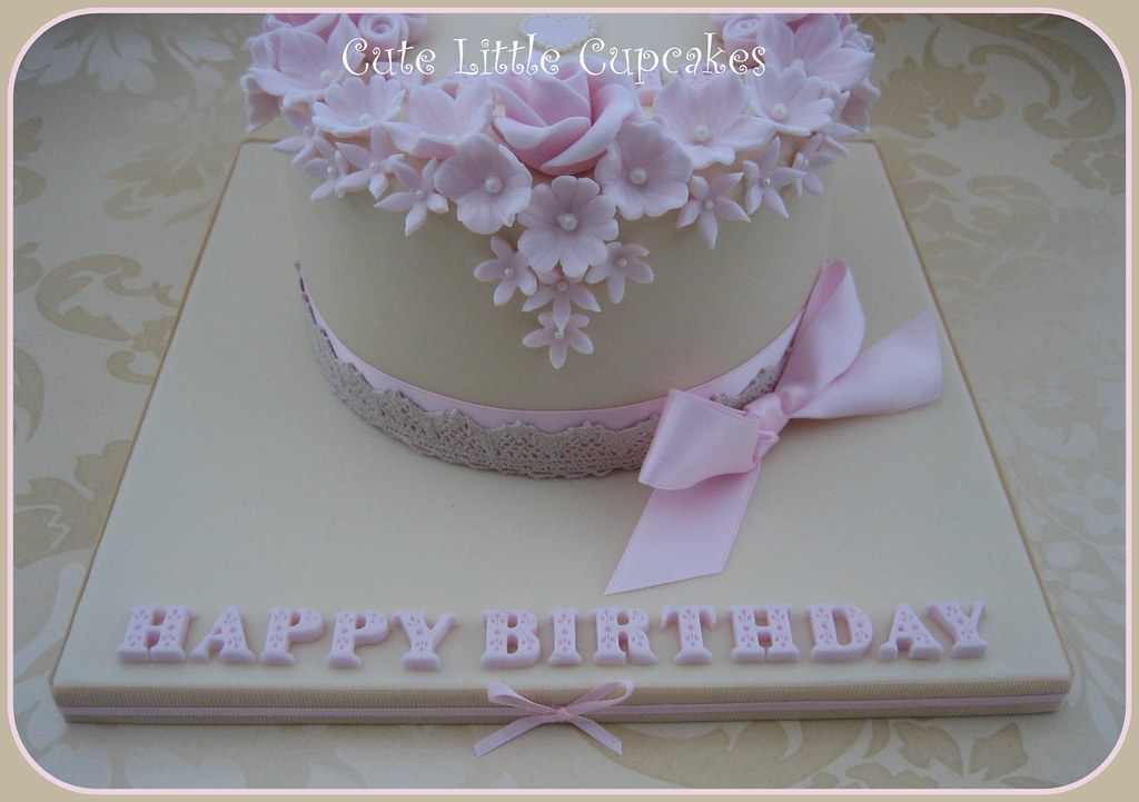 Wondrous Shabby Chic Birthday Cake A Photo On Flickriver Personalised Birthday Cards Cominlily Jamesorg