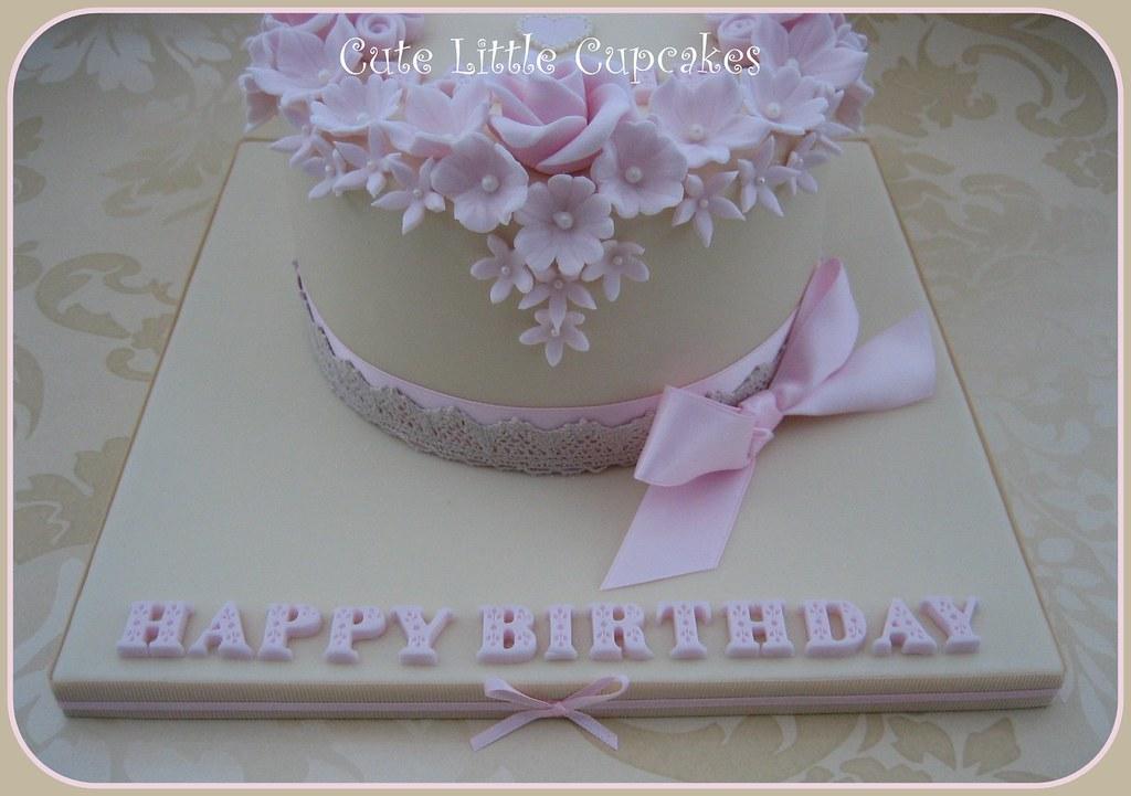 Sensational Shabby Chic Birthday Cake A Photo On Flickriver Personalised Birthday Cards Vishlily Jamesorg