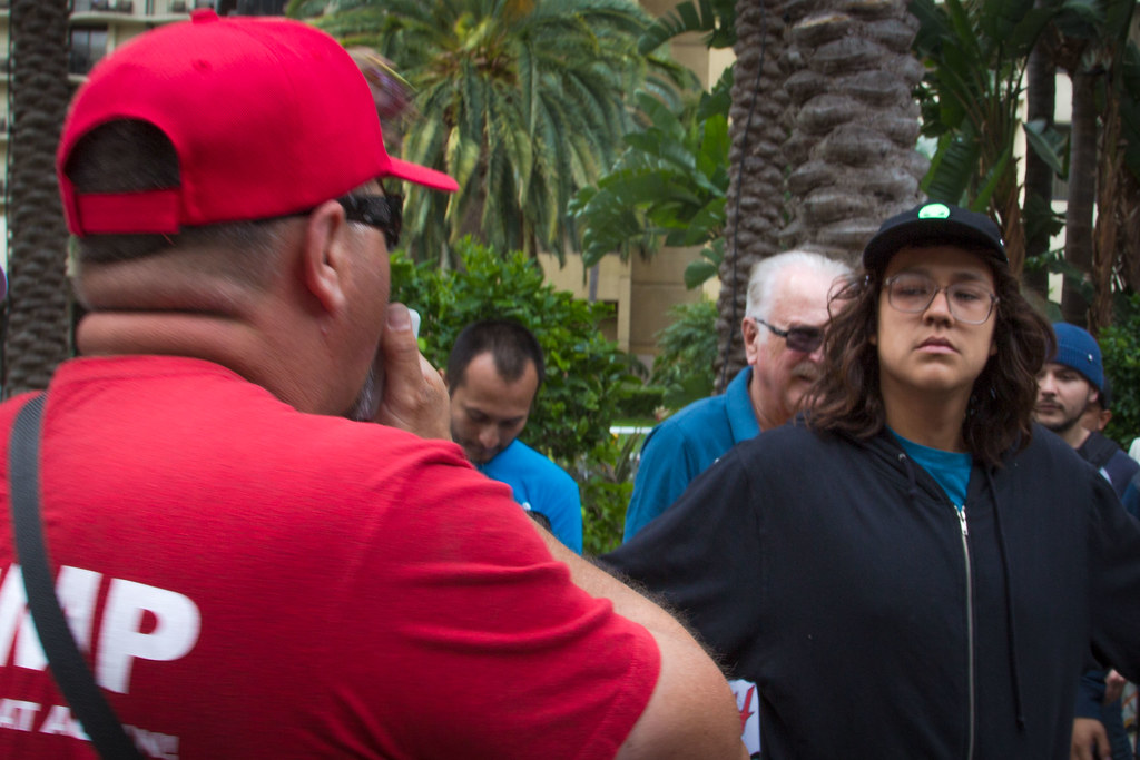Protester protects elderly man from Trump supporter