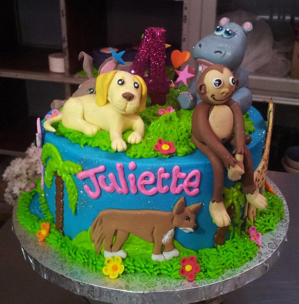 Cool Birthday Cake With Animals Cake Toppers Dog Monkey Hipp Flickr Personalised Birthday Cards Akebfashionlily Jamesorg