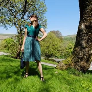 Green polkadot dress | by Porcelina's World