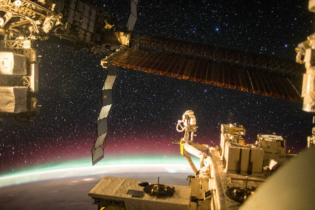 Aurora and Stars From the Space Station's JEM Window