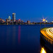 Boston Skyline and Memorial Drive Light Trails from Longfellow Bridge during Blue Hour