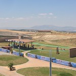 A view from the terrace across the shotgun range with the 300m targets in the background