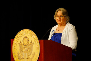 "Volunteer guardian ad litem Janet ""Jan"" Watford speaking at the Jefferson Awards for Public Service gala in Washington, D.C. 