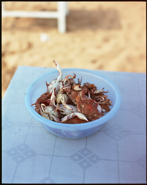 blue bowl red crabs