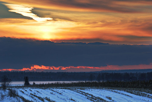winter sunset snow clouds cornfield jettrails ilobsterit